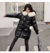 Load image into Gallery viewer, Janveny Large Natural Fox Fur Hooded Shiny Jacket 2020 New 90% Duck Down Coat Long Golden Female Winter Down Parkas Waterproof
