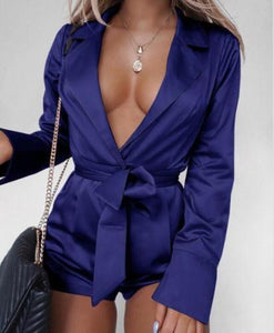 female, for party, satin jumpsuit, belt, v-neck, soft, female jumpsuit