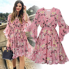 Load image into Gallery viewer, Women Fashion Casual Chiffon Floral Print Short Sleeve V-neck Party Dress