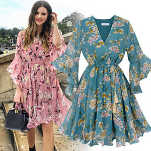Women Fashion Casual Chiffon Floral Print Short Sleeve V-neck Party Dress