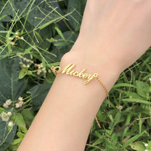 Load image into Gallery viewer, ALS Script Personalized Name Bracelets for Women Solid Stainless Steel in Gold Tone Customize Unique Wedding Gift Elegant BFF Bracelet