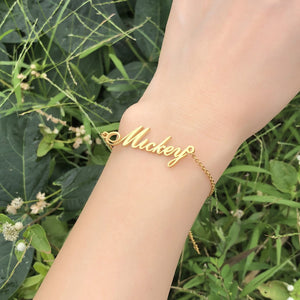 ALS Script Personalized Name Bracelets for Women Solid Stainless Steel in Gold Tone Customize Unique Wedding Gift Elegant BFF Bracelet