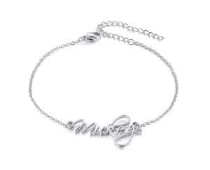 Scriptina Personalized Name Bracelets for Women Solid Stainless Steel in Gold Tone Customize Unique Wedding Gift Elegant BFF Bracelet