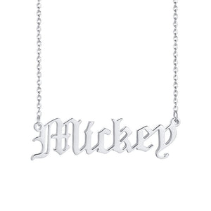 Old English Text MT Personalized Name Necklaces Solid Stainless Steel Choker for Women Fashion Pendant Custom Special Unique Gift