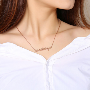 Romantic Cupid's Arrow Name Necklace for Women 585 Rose Gold Stainless Steel Choker Customize Lover Gift