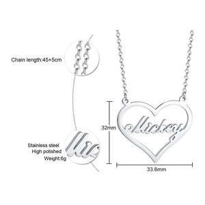 Personalize Custom Name Necklace Heart Pendant Love Gift Stainless Steel Choker for Women Elegant Jewelry
