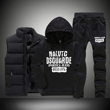 Load image into Gallery viewer, New Winter Thicken Warm Tracksuit Men 3 Pieces Hooded Fleece Hoodies+Zipper Vest+Sweatpants Track Suit Man Print Sportswear Coat