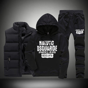 New Winter Thicken Warm Tracksuit Men 3 Pieces Hooded Fleece Hoodies+Zipper Vest+Sweatpants Track Suit Man Print Sportswear Coat