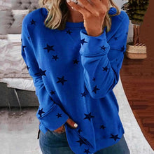 Load image into Gallery viewer, long sleeve t shirt female pentagram printed o-neck