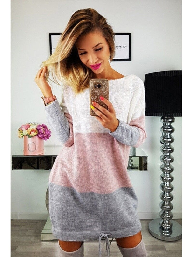 Oversized female long sleeve mesh jumper tops loose casual sweater dress