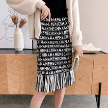 Load image into Gallery viewer, Cartoon female skirt tassel mesh embroidery autumn letters mesh thick sexy pencil skirts japan