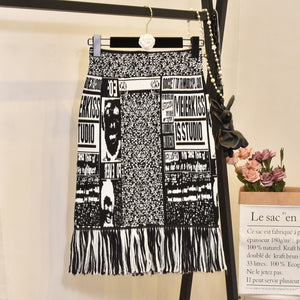 Cartoon female skirt tassel mesh embroidery autumn letters mesh thick sexy pencil skirts japan