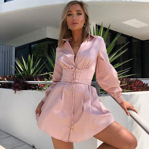 Sexy Deep V Neck Mini Shirt Dress Women Waistband Bodycon Dresses Ladies 2020 Party Long Sleeve Drawstring Autumn Winter Dress