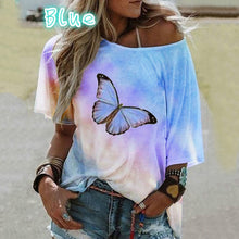 Load image into Gallery viewer, One Shoulder Tie-dye Butterfly Print T-shirt Camisetas Mujer