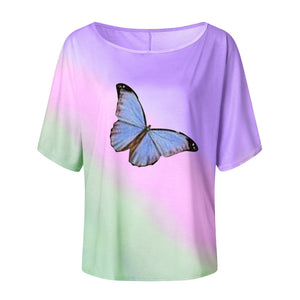 One Shoulder Tie-dye Butterfly Print T-shirt Camisetas Mujer