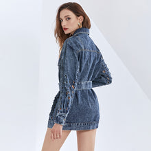 Load image into Gallery viewer, Hollow Out Lace Up Denim Coat For Women Lapel Long Sleeve High Waist Slim Streetwear Coats Female  Fashion Tide