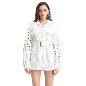 Hollow Out Lace Up Denim Coat For Women Lapel Long Sleeve High Waist Slim Streetwear Coats Female  Fashion Tide