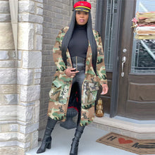 Load image into Gallery viewer, Tsuretobe Plus Size Camouflage Trench Coat Women Autumn Casual Letter Print Coat Pockets Long Sleeve Overcoat Female Outwear