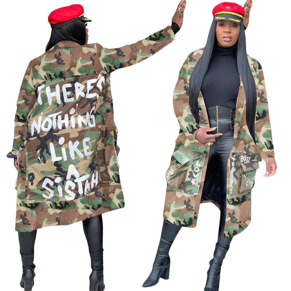 Tsuretobe Plus Size Camouflage Trench Coat Women Autumn Casual Letter Print Coat Pockets Long Sleeve Overcoat Female Outwear