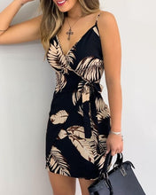 Load image into Gallery viewer, V Neck Leaf Print Mini Summer Dress