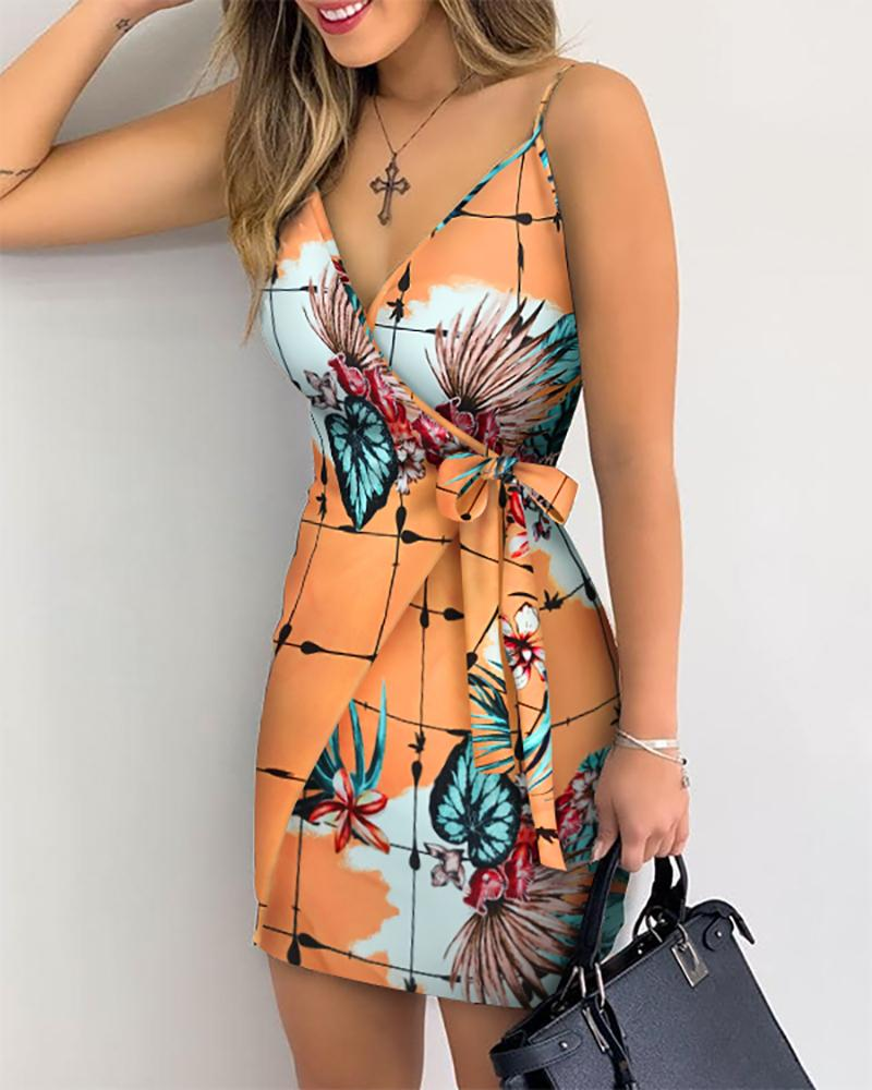 V Neck Leaf Print Mini Summer Dress