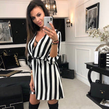Load image into Gallery viewer, Striped v-neck casual dress, summer