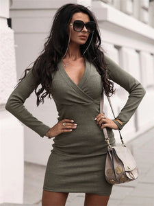 Women's long sleeve short dress, v-neck, fashion, elegant, for winter, slim