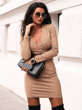 Load image into Gallery viewer, Women's long sleeve short dress, v-neck, fashion, elegant, for winter, slim
