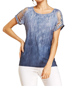 Women Short Sleeve Cut Out T-Shirt Top Casual Round Neck Cold Shoulder Gradient Blouse Tee