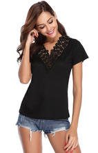 Load image into Gallery viewer, Women's Summer Lace V Neck T-Shirt Short Sleeve Casual Tee Shirt Tops