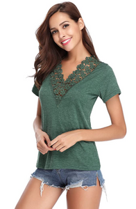 Women's Summer Lace V Neck T-Shirt Short Sleeve Casual Tee Shirt Tops