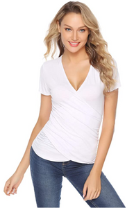 Womens Summer Wrap Top V-Neck Short Sleeve Slim Fit Casual Tee Shirt Blouse