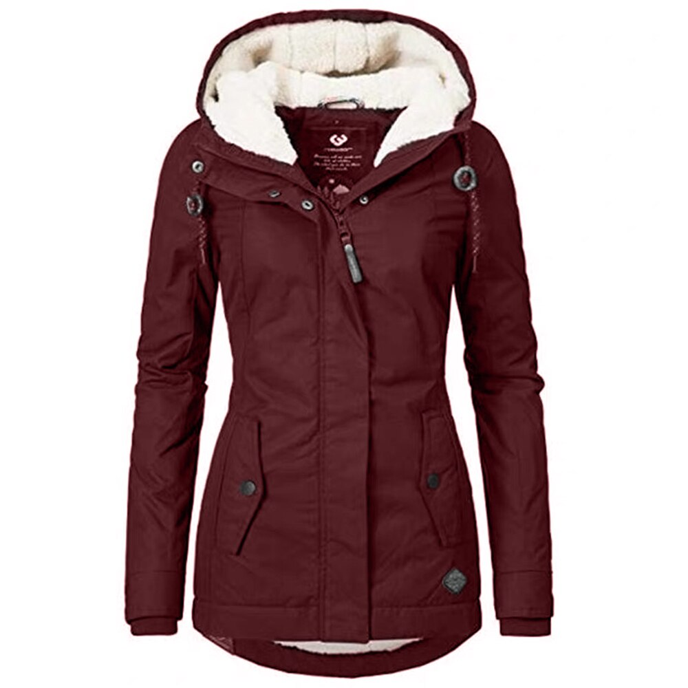 Winter Women Warm Parkas Hooded Thick Plush Winter Coats