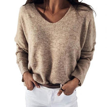 Load image into Gallery viewer, Women Autumn Loose Solid Color V Neck Long Sleeve Plush Pullover Sweater Top