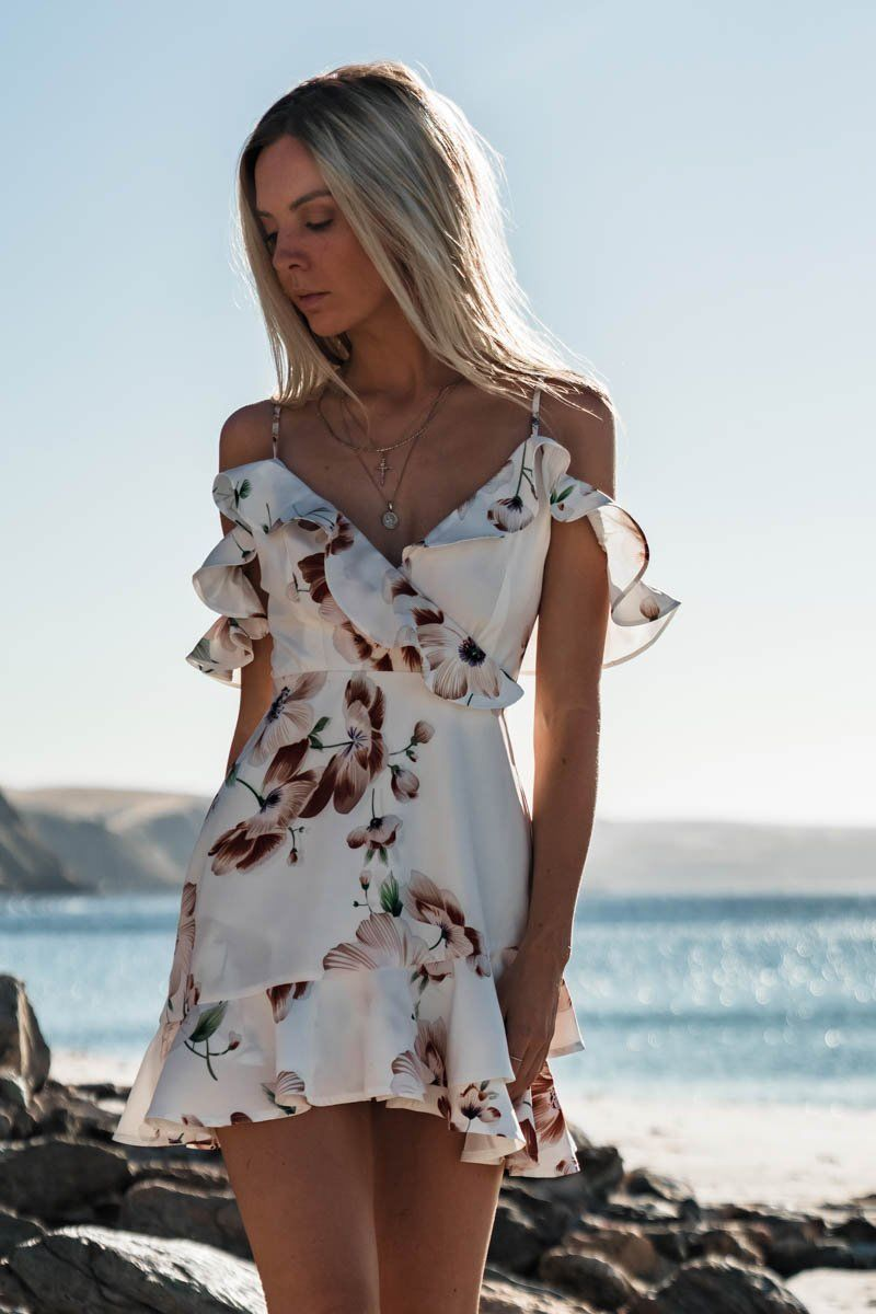 Women Boho Floral Dress Chiffon Summer
