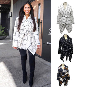 Women Lapel Lie Coat  Woolen Coat Autumn Winter Long Sleeve Pocket Jacket  Office Coats