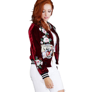 Womens bomber jacket flower animal embroidery velvet riverdale jackets