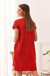 Cotton dress with a longer back