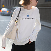 Load image into Gallery viewer, Women's fashion White O Neck Long Sleeve Shirt Tops