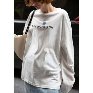 Women's fashion White O Neck Long Sleeve Shirt Tops