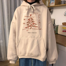 Load image into Gallery viewer, Beige White Long Sleeve Fleece for Christmas Tree Women'fsahion