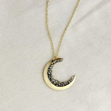 Load image into Gallery viewer, Crescent Moon Necklace Black Diamond