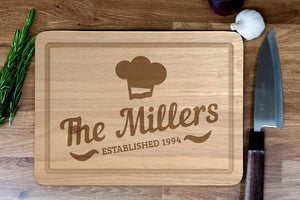 Personalised Chopping Board - Engraved Personalised Wooden Cheese Board, New Home, Wedding, Birthday, Custom Made Gift, Bespoke Wood Board
