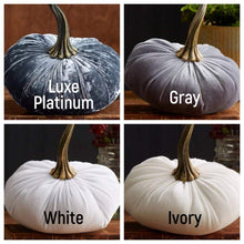 Load image into Gallery viewer, Large Velvet Pumpkins, table centerpiece, Fall decoration, modern rustic wedding decor