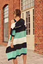 Load image into Gallery viewer, Cardigan with thick stripes with a hood