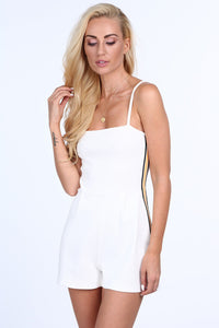 Cream jumpsuit with thin straps