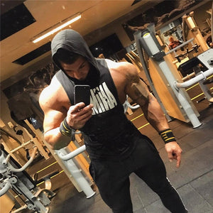 2020 New Men Gyms Fitness Hooded Vest Sleeveless Sport Tank Top Workout Running Vest men
