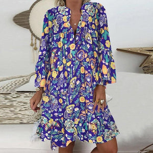 5XL Floral Printed Women's Blouses Summer Plus Size White Beach Vintage Women's Summer Shirt V Neck Oversize Boho Clothing Tops