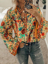 Load image into Gallery viewer, DIOROBBEN boho clothing 5XL Plus Size women long sleeve Shirt fashion O-Neck Autumn Tops Vintage Floral printed women's blouses