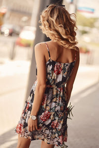 floral dress with an envelope neckline